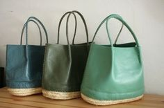 Ocean hued leather totes