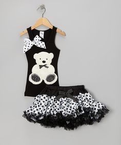 Take a look at this Black Teddy Bear Tank & Pettiskirt - Toddler & Girls by Bling Diva on #zulily today!