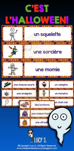French Halloween Word Wall + Scavenger Hunt - vocabulaire #francais