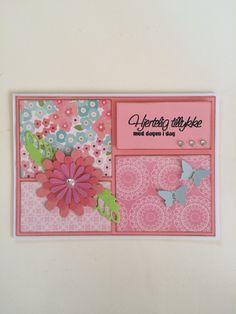 Fødselsdagskort - lyserød Diy And Crafts, Valentines Day, Valentine's Day Diy, Valentine Words, Valentines, Valentine's Day
