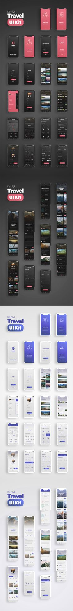 Demlyk Travel iOS UI Kit -  Black & White Travel App for iPhone X