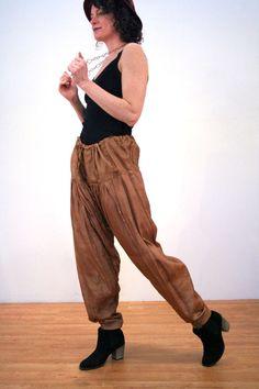 Jyoti, 80s Raw Silk Drawstring Harem Pants, Silk Harem Pants, Copper Harem Pants, Boho Harem Pants, Shalwar, Patiala Salwar, India Pants L
