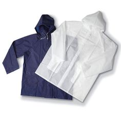 Ladies' fashion raincoat 1.Material:pvc 2.Colour:blue or as client requests 3.Size:S,M,L,XL 4.Style:attached hood with drawstring,storm front with snaps,two patch pockets with flap,chest with printing 5.Thickness:0.1mm-0.2mm 6.Workmanship:seam pressed 7.Function:waterproof 8.Packing detail:1pc/pvc bag,50pcs/ctn