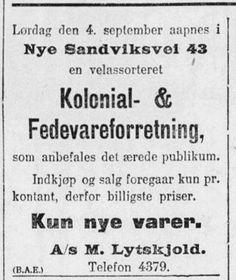 Annonse i Bergens Tidende i 1915, da butiikken var ny.