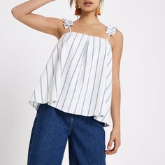 Cream striped ruffle shoulder strap top