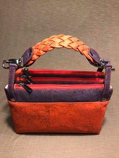 Sac ChaChaCha liège orange et violet, anse modifiée de Brigitte - Patron sac Sacôtin