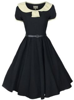 Lindy Bop 'Odette' Classy Vintage 1950s Black   Cream Collared Flared Swing Party Evening Dress,£29.99