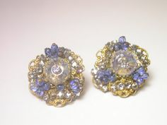 Vintage Blue Earrings  Costume Clip On Blue and Clear