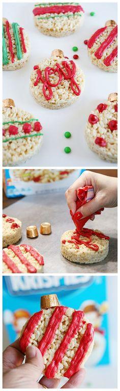 Rice Krispies Treat Christmas Ornaments | Christmas Treats