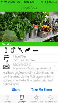Use the app Greenhopping to find the nearest juice bar, organic market or healthy cafe.