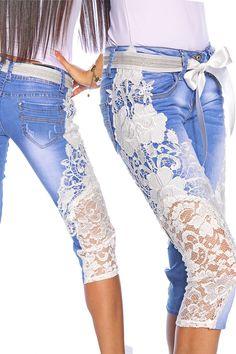 Capri-Jeans mit Spitze | Jeans | Hosen & Pants & Leggings | BEKLEIDUNG | FRAUEN | 701 FASHION