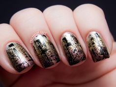 Three of the new China Glaze Autumn Nights collection polishes come together for a distressed, industrial metallic look!