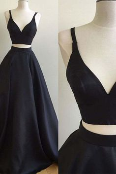 Simple black satins V-neck two pieces A-line long dresses,prom dresses