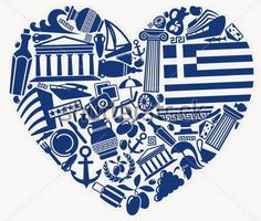 Traditional symbols of Greece in the form of heart Old Posters, Greek Flag, Greek Culture, Corfu, Greek Life, Vintage Travel Posters, Greek Islands, Illustrations, Blue And White