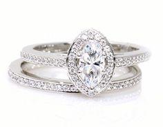 Marquise Moissanite Engagement Ring & Wedding Band Diamond Halo Conflict Free Custom Engagement Ring