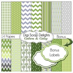 Green & Gray Digital Papers for Scrapbooking by DigiScrapDelights bonus labels