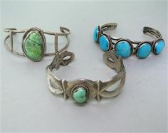 Native American Sterling Turquoise Cuff Lot of 3. Available @ hamptonauction.com for the May 19th Auction!