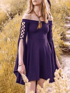 Off The Shoulder Lace Up Swallowtail Dress - Purple   Dispatched in: Item ships within 5-10 business days. $10.66