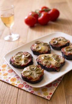 Photo de la recette: Mini pizza d'aubergines aux olives et tomates