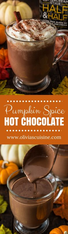 Pumpkin Spice Hot Chocolate | www.oliviascuisine.com | Creamy and extra rich, this Pumpkin Spice Hot Chocolate tastes like Fall in a cup. I can't think of a better way to celebrate the season! (Recipe and food photography by @oliviascuisine.) AD #IndulgenceDoneRight