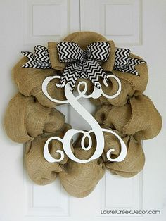 Chevron Initial Wreath for Year Round Door by LaurelCreekWreaths, $115.00