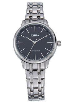 ZHHA Women's 068 Casual Quartz Black Dial Silver Stainless Steel Bracelet Wrist Watch Waterproof