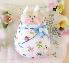 """Cat Doll, White Floral and Butterfly Print, 6"""" Free Standing Kitty, , Soft Sculpture Doll Primitive Handmade CharlotteStyle Decorative by CharlotteStyle on Etsy"""