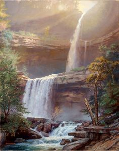 Kaaterskill Falls oil on linen, 20 x 16 in. Framed Dimensions: 23 x 27 in. - Kaaterskill Falls oil on linen, 20 x 16 in. Framed Dimensions: 23 x 27 in. Fantasy Landscape, Landscape Art, Landscape Paintings, Watercolor Paintings, Beautiful Waterfalls, Beautiful Landscapes, Waterfall Paintings, Les Cascades, Nature Pictures