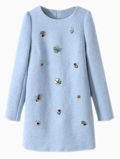 Light Blue Woolen Shift Dress.