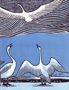 woodcuts by Japanese artist Keizaburo Tejima's Swan Sky (1983), and Owl Lake (1987)
