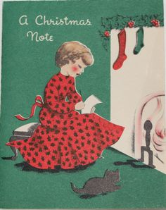 Vintage Christmas Card Woman at Hearth Black Cat Read Letter Holly Girl Norcross Old Time Christmas, Christmas Note, Christmas Past, Retro Christmas, Christmas Fireplace, Vintage Christmas Images, Vintage Holiday, Christmas Pictures, Vintage Greeting Cards