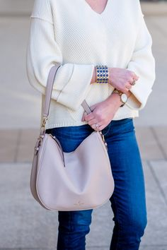 love how the kate spade mylie hobo and stella & dot abacus bracelet pop this neutral spring outfit | fashion over 40 | spring fashion
