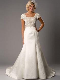 Empire Square Court Satin Modest Wedding Dress