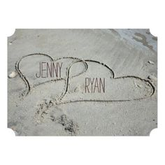 "Two Hearts in the Sand Wedding Invitations 5"" X 7"" Invitation Card"