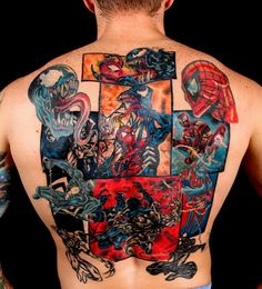 i dont like comic tattoos ,but this one is amazing..    spiderman-tat-large.jpg (1200×1324)