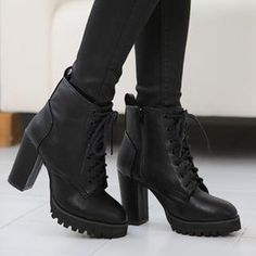 Fleece-Lined Chunky-Heel Ankle Boots