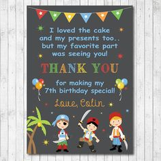 Little Pirates Birthday Thank you Card Blue by funkymushrooms