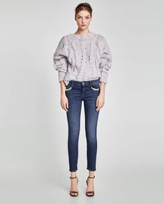 JEANS WITH CHAINS AND PEARL BEADS-NEW IN-WOMAN-NEW COLLECTION | ZARA Hungary