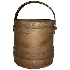Antique Primitive New England Firkin Sugar Bucket with Lid FREE SHIPPING! Bucket With Lid, Brown Paint, Bent Wood, Roseville Pottery, Antique Auctions, Wood Slats, Vintage Kitchen, Painting On Wood, New England