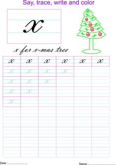 Cursive small letter x  worksheet
