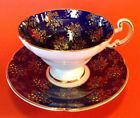 Old Gold Pedestal Tea Cup And Saucer - Cobalt Blue With Raised Moriage Beading