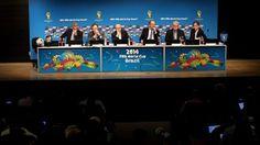 FIFA Secretary General Jerome Valcke, FIFA President Joseph S. Blatter, Aldo Rebelo, Brazils Minister of Sports, World Cup Brazil Organizing Committee (LOC) Chief Executive Ricardo Trade and Luis Fernandes