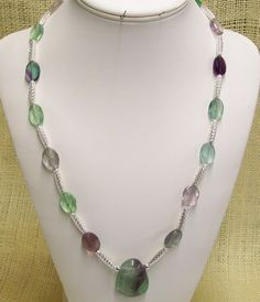 Necklace Handmade with Rainbow Fluorite and Silver Plate Open Weave Tube Beads