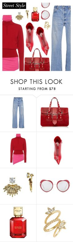 """""""Street Style"""" by dressedbyrose ❤ liked on Polyvore featuring RE/DONE, RED Valentino, J.W. Anderson, Alexander McQueen, Badgley Mischka, Miu Miu, Michael Kors, Luv Aj, StreetStyle and red"""