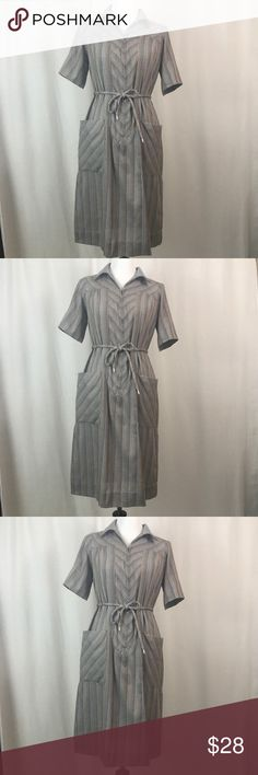 "•Vintage Sears Striped Factory Dress• Sears Brand (vintage) gray striped multi color woman's factory dress - INT. Ladies garment workers union- Made in USA - Size 12 excellent condition, no rips or stains, pet and smoke free home - FAST SHIPPING Measures Waist 38"" Ties at waist Length 41.5"" Sears Union Made Dresses Midi"