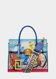 Versace Magna Grecia Pop Blue Palazzo Empire Bag for Women Versace Handbags, Versace Bag, Fashion Handbags, Fashion Bags, Luxury Bags, Luxury Handbags, Purses And Handbags, Off White Bag, Pop Bag