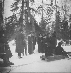 Nicholas II and his children in the snow: 1916. via TheMauveRoom.tumblr / > Notice the sleds are tied together. ...horses towing them...?