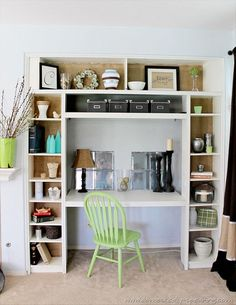 IKEA DIY Bookshelf and desk. Would be great in play/spare room, just make desk fold up for more convent space.: IKEA DIY Bookshelf and desk. Would be great in play/spare room, just make desk fold up for more convent space. Desk Nook, Tv Nook, Office Nook, Desk Office, Desk Space, Office Storage, Bedroom Storage, Computer Nook, Office Shelving