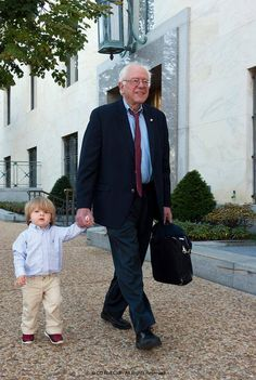 Bernie Sanders •~• Sen. Bernie Sanders walks his grandson to work at the Senate.