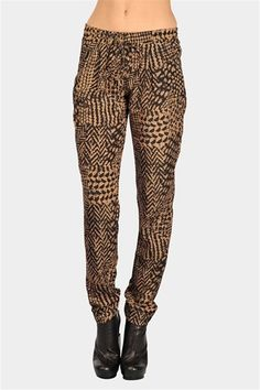 Punch It Print Pants - Mocha